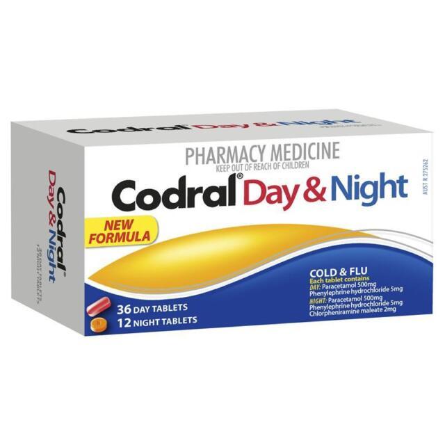 ツ CODRAL DAY & NIGHT COLD & FLU 48 TABLETS HEADACHES AND FEVER RELIEF