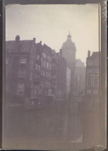 Pays-Bas-Amsterdam-Le-canal-ca-1900-Vintage-citrate-print-Vintage-citrate-pr