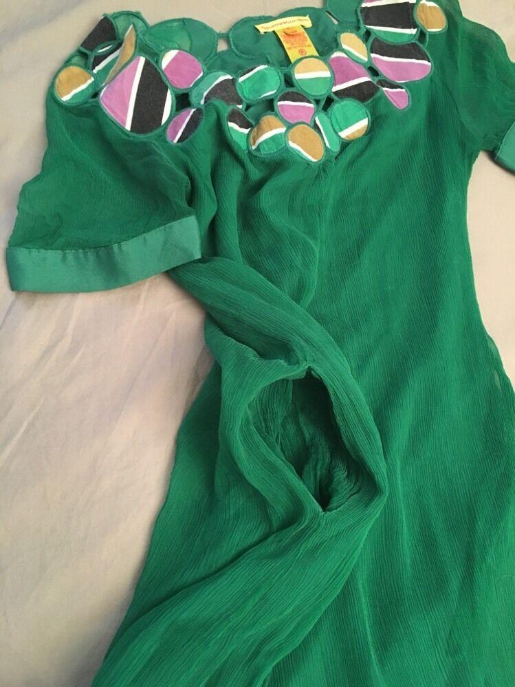 Catherine Malandrino  Green Silk Dress Mini Embroidered Embroidered Embroidered  Marked SZ 6 P Small eb0e11