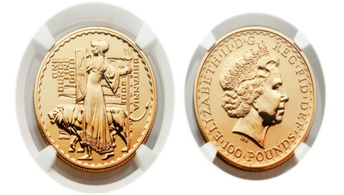 Great Britain 2001 Britannia-Una and the Lion 100 Pounds 1 oz Gold NGC MS65