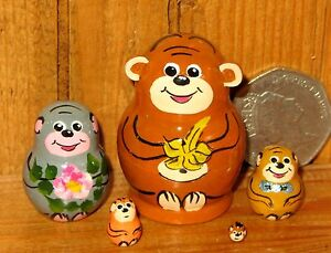 Nesting-Russian-Dolls-Matryoshka-tiny-EARS-MONKEY-5-Funky-miniature-ULYANOVA