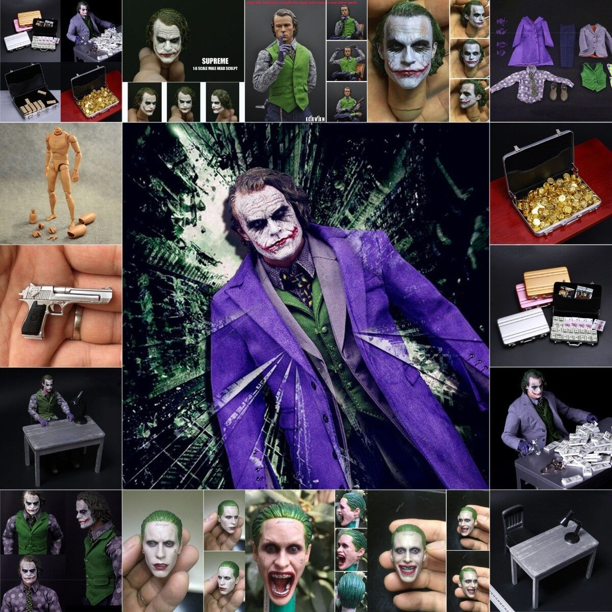 1 6 Scale Batman Joker Clothing and Accessories Set Narrow Shoulder Body Figure