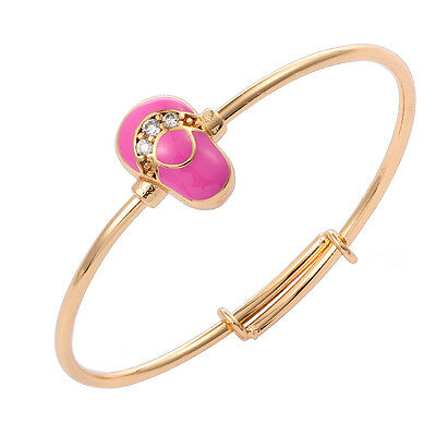 Toddler Baby 18K Gold Filled Cuff Bangle Pink Painting Shoe Tiny Zincon Jewelry