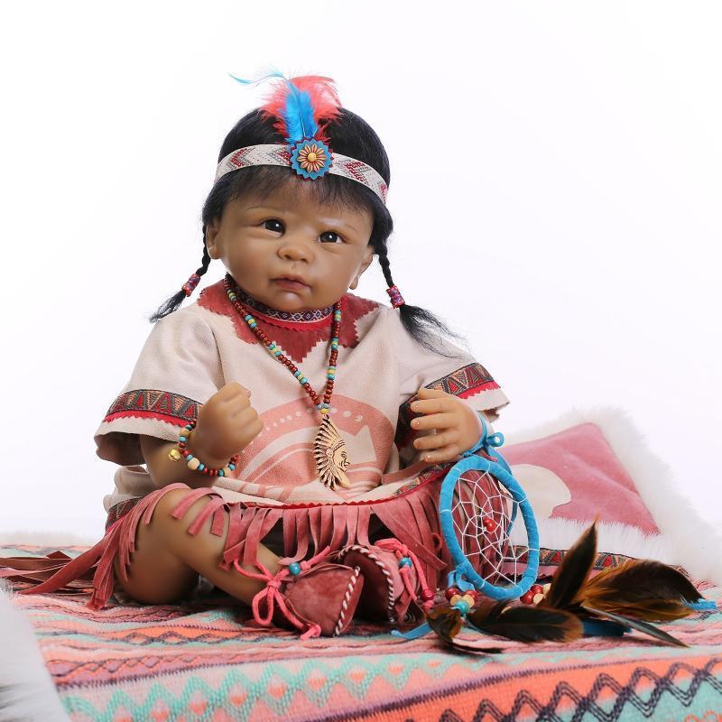 22  RINATO Baby Girl Doll Toy realistici neonato Native American Indian Bambini Regali
