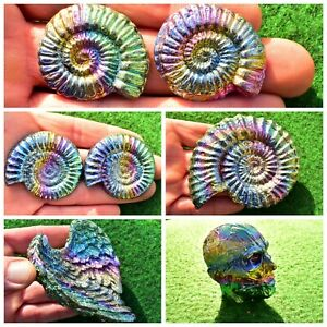 Bismuth Crystal Ammonite, Angel Wing, Head/Skull [All Sizes, Best Price] UK Buy✔