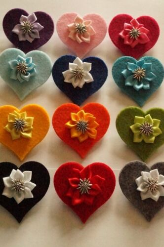 Herzbrosche mit Satinblume Edelweiß viele Farben Landhaus Dirndl Oktoberfest