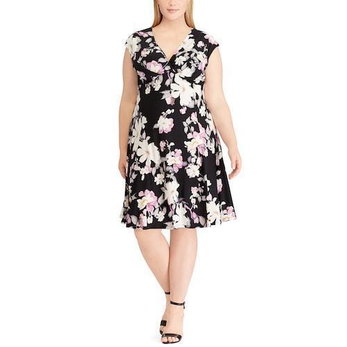 Chaps damen schwarz Weiß Dress Faux Wrap Cap Sleeve Spring Floral Sz 14W NWT