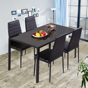 d9aca07385775 High Gloss 4-Seater Black Tempered Glass Dining Table AND Chairs Set ...