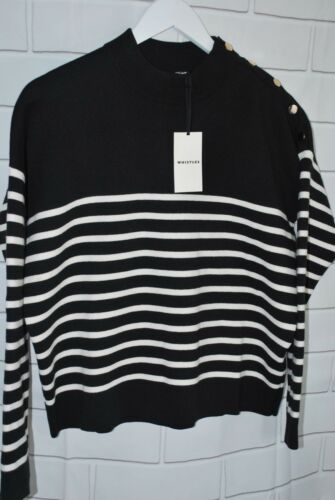 Size Breton Stripe Multi Button Xs Knit Shoulder Whistles Ygqpw8F