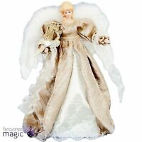 *40cm Deluxe Champagne Gold Angel Fairy Christmas Tree Topper Wings Decoration*