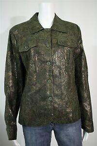 Dresssbarn-Misses-LARGE-Green-Bronze-Gold-Paisley-LS-Button-Up-Shirt-Jacket