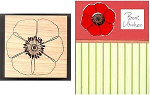Memory-Box-Large-OPEN-POPPY-F703-Wood-Mtd-Rubber-Stamp-NEW-Cards-Scrapbook