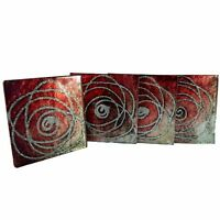 Decorative Contemporary Glass Coasters Set of 4, Red, Silver & Black