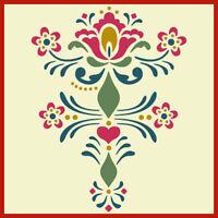Rosemaling Pattern 9 Stencil- Swedish Kurbits - The Artful Stencil
