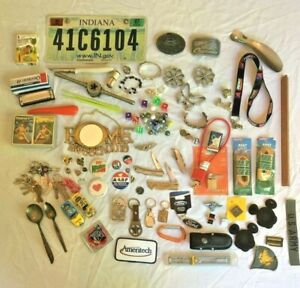 HUGE-Vtg-JUNK-DRAWER-Key-Chain-Patch-Pin-belt-buckle-Harley-Jewelry-Knives-Tools