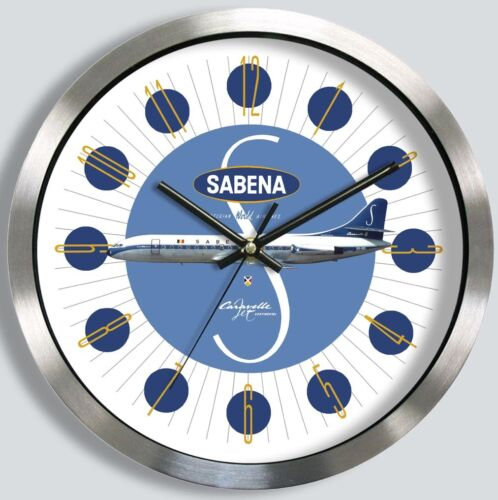 SABENA BELGIAN AIRLINES SUD AVIATION CARAVELLE III WALL CLOCK 1960s metal