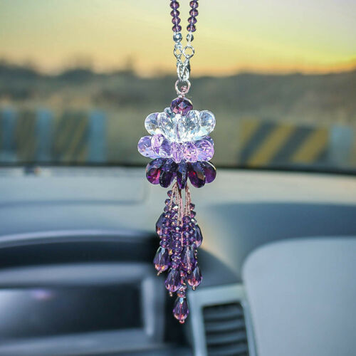 New Purple Crystal Rainbow Suncatcher Car Pendant Window Hanging Home Decor