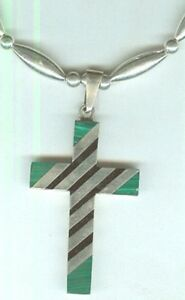 Adjustable-Malachite-and-Onyx-Inlay-Cross-Pendant-Necklace-Lots-of-Sterling