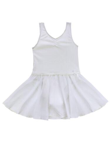 Girls Sleeveless Ballet Dress Gymnastics Dance Leotard Skirt Kids Dancewear