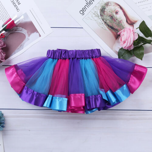 Girls Kids Rainbow Tutu Dress Cap Sleeves Cosplay Party Costume Hair Hoop Outfit