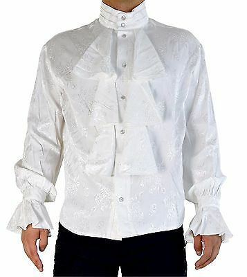 Shrine Mens Formal Victorian Gothic Steampunk Pirate Louis XIV Shirt Ivory Embroidered Fabric