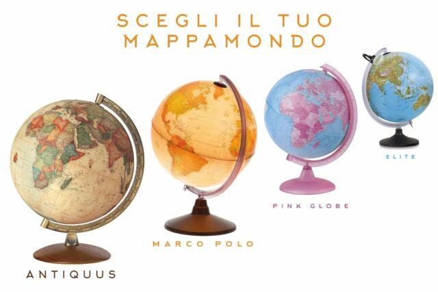 Mappamondo Globo in Rilievo Tattile Luminoso 30 Cm Tecno Didattica Base in Legno