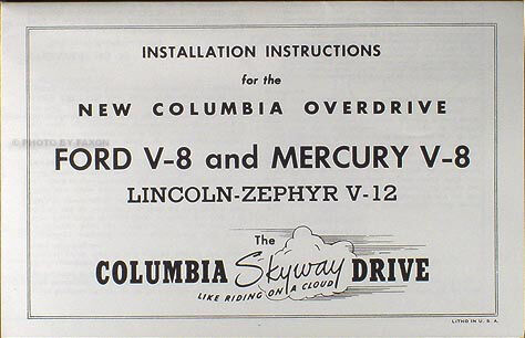 Ford and Lincoln Columbia Overdrive Manual Set of Four 1941 1942 1946 1947 1948