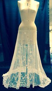 STUNNING-ANTIQUE-3D-LACE-TAMBOUR-WEDDING-SKIRT-DRESS-VEIL-VINTAGE-BRIDE-CURTAIN