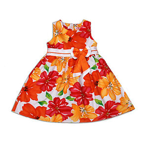 Nuevo-Flor-Ninas-Vestido-de-fiesta-en-naranja-azul-18-24-2-3-3-4-4-5-ANOS
