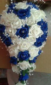 Bouquet Sposa A Goccia.Royal Blu Bianco Bouquet Da Sposa Doccia Goccia Ebay