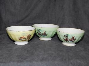 3-BOLS-ANCIENS-FAIENCE-COTELEE-DECO-RETRO-VINTAGE-KITCH-COLLECTION