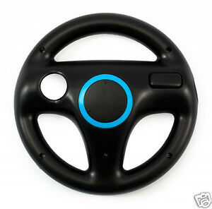 2x-Nintendo-Wii-Lenkrad-SET-schwarz-black-Mario-Kart-Controller-Zubehoer-Wheel