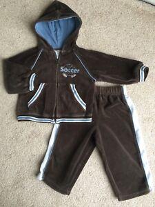 05b7e60cd Miniwear Baby Boy Velour Track Suit Jacket   Pants Brown Soccer Size ...