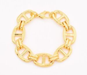 Puffed-Mariner-Anchor-Gucci-Bracelet-14K-Yellow-Gold-Clad-Stainless-Steel-7-1-4-034
