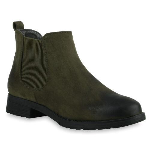Chelsea Boots Damen Leder-Optik Stiefeletten Modische Klassisch 813189 Schuhe
