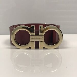 Details about Y 0921308 New Salvatore Ferragamo Giant Gancini Buckle Red Belt Size 38 Fits 36