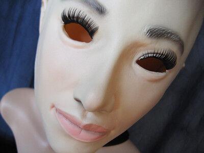 Attento Maschera In Gomma Lilly V3 + Ciglia-femminile Donne Maschera Lattice Crossdresser Viso-mostra Il Titolo Originale
