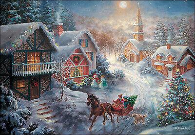 Leanin/' Tree Christmas Card Christmas Town Scene Theme ID#284