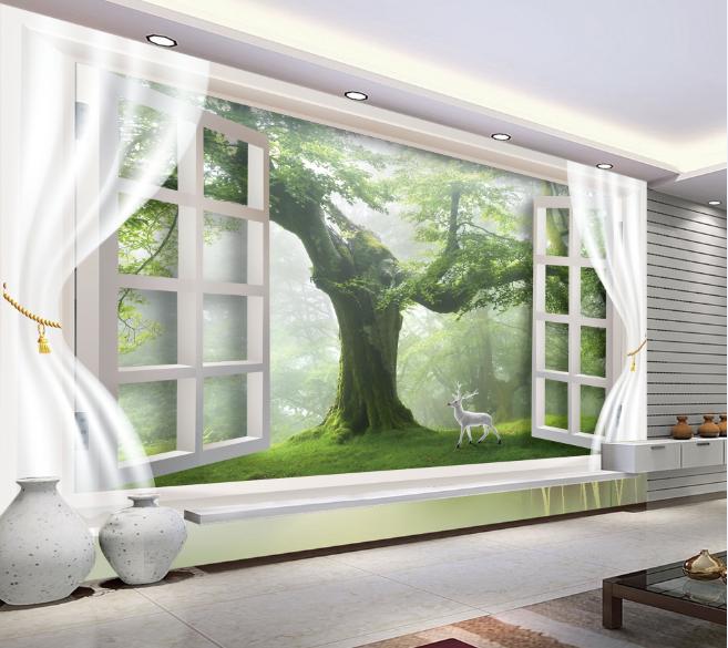 3D Window Tree Deer 9 Wall Paper Murals Wall Print Wall Wallpaper Mural AU Lemon