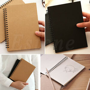 Retro Spiral Coil Notebook Diary Sketchbook Journal Student Note Book Memo Pad