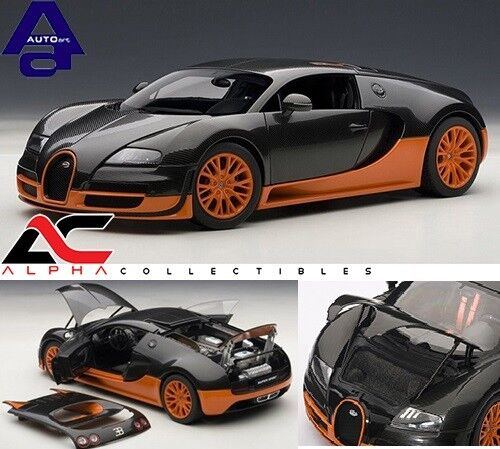 Autoart 70936 1:18 Bugatti Veyron Super Sport Carbono Negronaranja supercoche