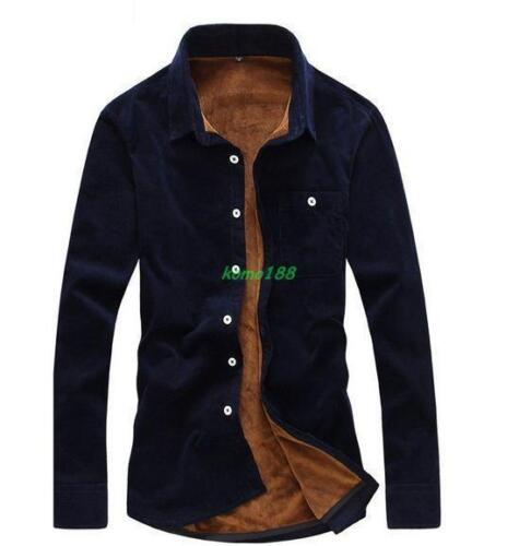 Mens winter fur lined casual long sleeve button shirts Casual formal shirts New