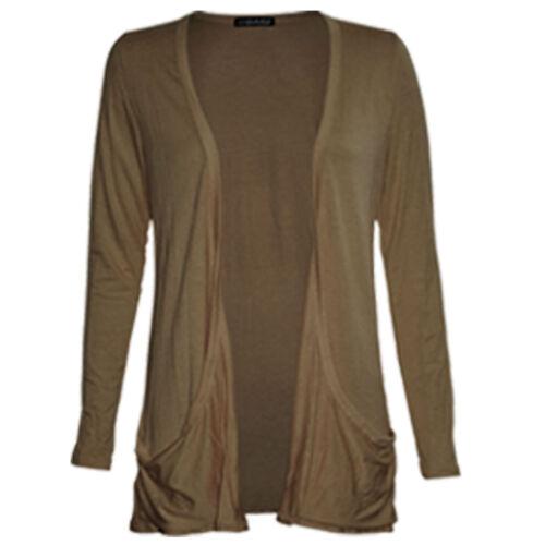 Womens Ladies Long Hip Open Front Slouch Boyfriend Pocket Cardigan Top 8-26