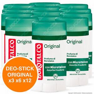 Borotalco Deodorante Stick Deo Original Anti Sudore Senza Alcool 40ml x3 x6 x12
