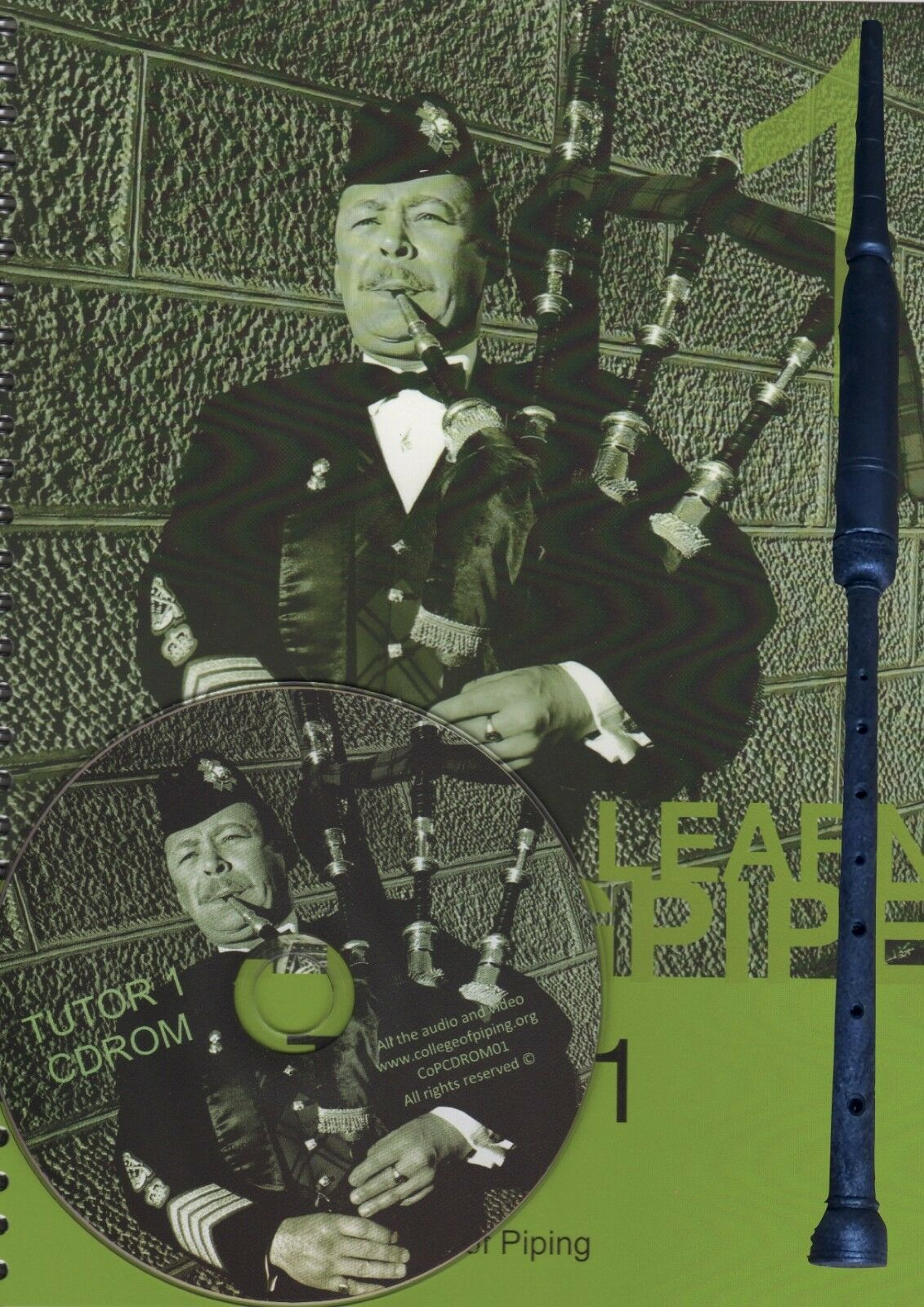 Learn Great Highland Bagpipe Tutor Book + Practice Chanter + Reed