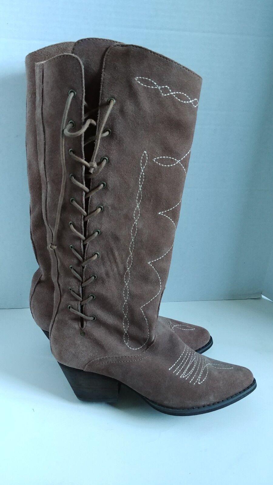 Reba tamaño 6.5 m banda de cuero tostado la la la rodilla botas altas nuevas Mujer Zapatos  garantizado