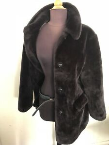 And Faux 10 Spencer 12 Ladies Marks Black Size Fur Vintage Coat OqnZgw