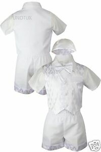 5pc Baby Infant Toddler Boys Baptism Formal Vest White Suit w/ Hat Outfits 0M-4T