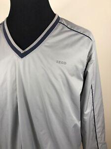 IZOD-Windbreaker-Golf-Jacket-L-Gray-Mens-Mesh-Lined-Vented-Pullover