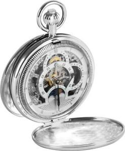Woodford-Men-039-s-Double-Hunter-Chrome-Plated-Moon-Dial-Pocket-Watch